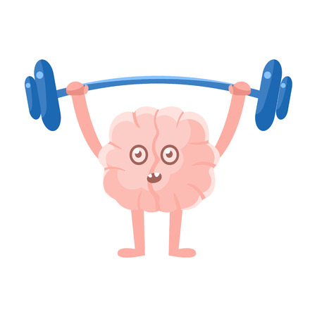 heavy weight: Humanized Brain Doing Heavy Weight Lifting Exercise In Gym , Intellect Human Organ Cartoon Character Emoji Icon
