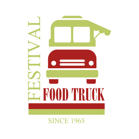 established: Food Truck Cafe Food Festival Promo Sign, Colorful Design Template In Red And Green With Vehicle Silhouette