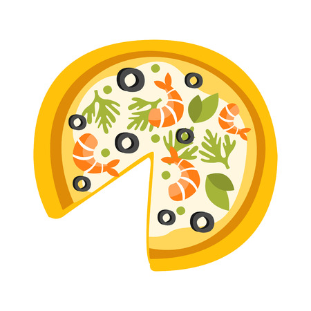 pizza base: Pizza With Shrimps Missing One Slice Primitive Cartoon Icon, Part Of Pizza Cafe Series Of Clipart Illustrations Illustration