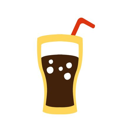 Glass With Non-Alcoholic Sweet Soda Drink And A Straw Primitive Cartoon Icon, Part Of Pizza Cafe Series Of Clipart Illustrations Illustration
