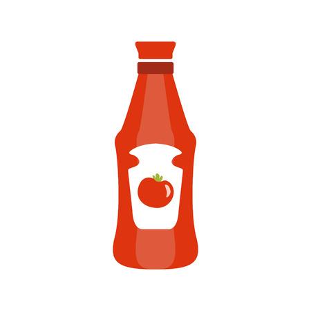 Botella plástica roja con Ketchup de tomate Icono de dibujos animados primitivo, parte de Pizza Cafe Serie de ilustraciones prediseñadas