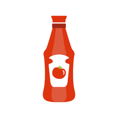 Red Plastic Bottle With Tomato Ketchup Primitive Cartoon Icon, Part Of Pizza Cafe Series Of Clipart Illustrations Illustration