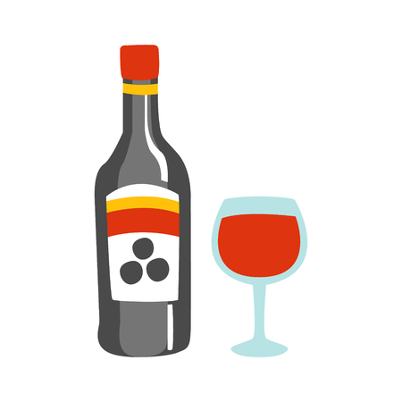 chianti: Bottle Of Red Wine And A Glass Of Alcohol Drink Primitive Cartoon Icon, Part Of Pizza Cafe Series Of Clipart Illustrations