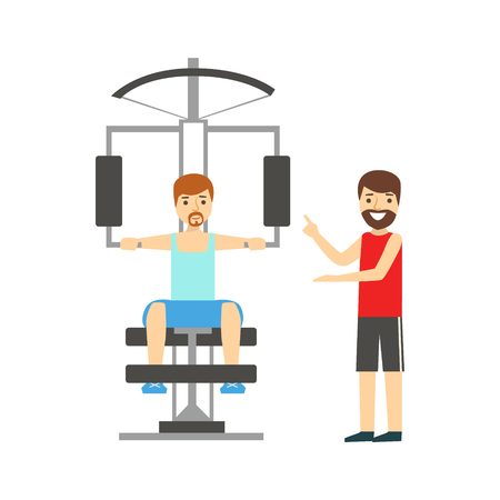 work popular: Man Doing Arms Exercise With Help Of Personal Trainer, Member Of The Fitness Club Working Out And Exercising In Trendy Sportswear. Healthy Lifestyle And Fitness Set Of Illustrations With Person Visiting Gym
