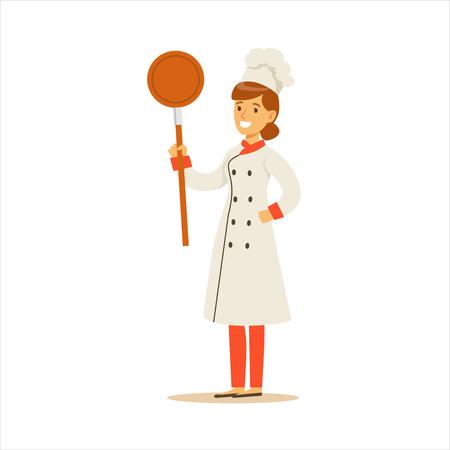 여자 전문 요리 요리사 프라이팬 팬 만화 고전적인 전통 유니폼을 입고 레스토랑에서 근무
