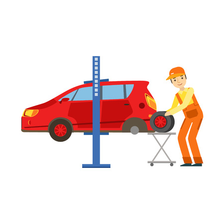 dismantle: Smiling Mechanic Changing A Tire In The Garage, Car Repair Workshop Service Illustration