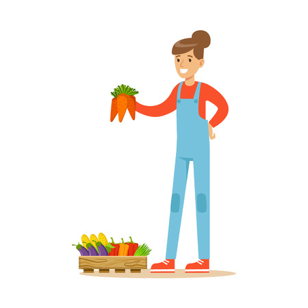 Woman Holding Bunch Of Carrots, Farmer Working At The Farm And Selling On Natural Organic Product Market