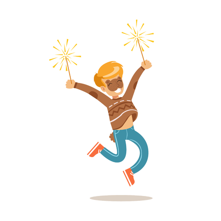 dressing up party: Boy In Bear Make Up With Fireworks, Children In Costume Party Illustration With Happy Smiling Kid At Festival Celebration. Smiling Cartoon Vector Character Having Fun And Dressing Up. Illustration