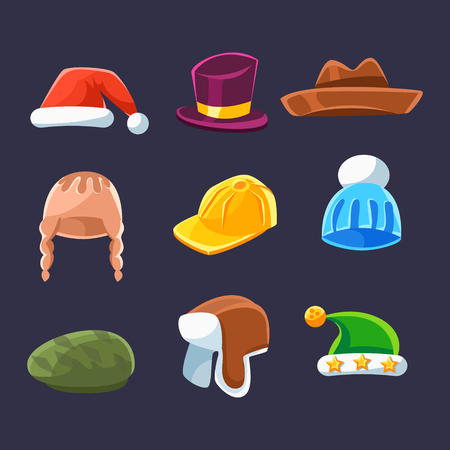 newsboy cap: Different Types Of Hats And Caps, Warm And Classy For Kids And Adults Serie Of Cartoon Colorful Vector Clothing Items. Winter And Autumn Male Headpieces In Childish Bright Colors Collection Of Illustrations.