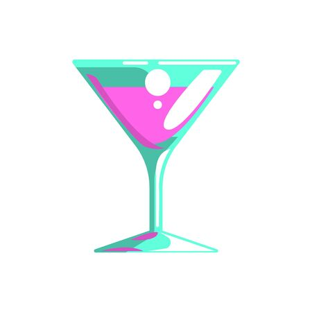 Fancy Cocktail Served In Martini Glass, Gambling And Casino Night Club Related Cartoon Illustration Stock Photo