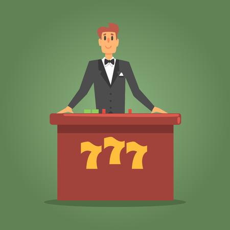 ポーカーでお客様を待っている男性のディーラー表、ギャンブルやカジノの夜クラブ関連漫画イラスト