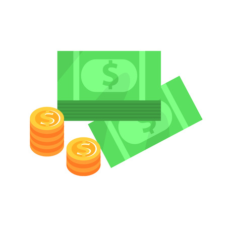 stake: Dollar Bills And Golden Coins , Gambling And Casino Night Club Related Cartoon Illustration