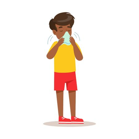 Sick Kid Blowing His Nose Feeling Unwell Suffering From Cold Sickness Needing Healthcare Medical Help Cartoon Character Illustration