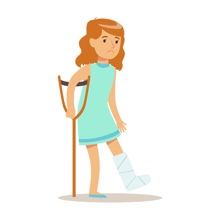 Sick Kid With Cast On Leg Feeling Unwell Suffering From Injury Needing Healthcare Medical Help Cartoon Character