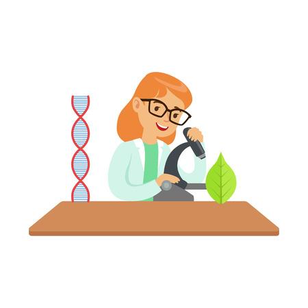 Biologo della ragazza con il microscopio, bambino che fa la ricerca di scienza di biologia che sogna di diventare scienziato professionista nel futuro