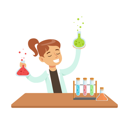 Girl Chemist and Chemical Experiment, Kid Doing Science Research Dreaming Of Becoming Professional Scientist In The Future.