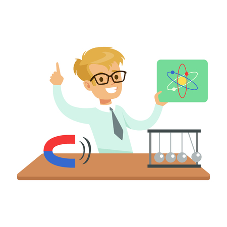 Boy Physicist And Physics Symbols, Kid Doing Science Research Dreaming Of Becoming Professional Scientist In The Future Illustration