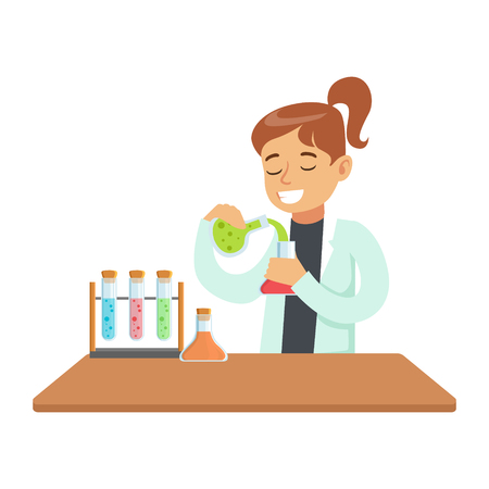 experimenting: Girl Chemist Experimenting, Kid Doing Chemistry Science Research Dreaming Of Becoming Professional Scientist In The Future