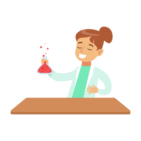 Girl Chemist Watching The Reaction In Test Tube, Kid Doing Science Research Dreaming Of Becoming Professional Scientist In The Future.