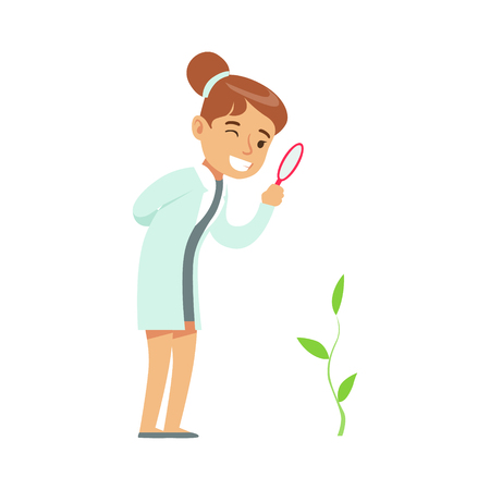 Girl Botanist Studying Plant, Kid Doing Botany Science Research Dreaming Of Becoming Professional Scientist In The Future. Vektoros illusztráció
