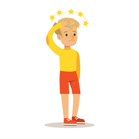 concussion: Sick Kid With Concussion And Stars Before Eyes Feeling Unwell Suffering From Injury Needing Healthcare Medical Help Cartoon Character