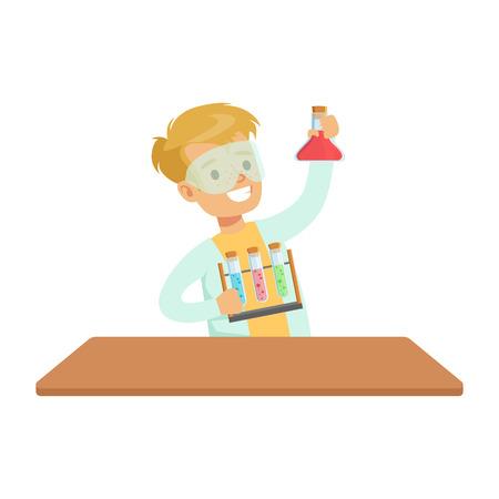 investigando: Biy Químico y tubos de ensayo, cabrito que hace la investigación de la ciencia química sueños de convertirse en profesional del científico en el futuro