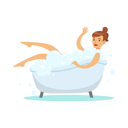 Woman Taking Bubble Bath, Part Of People In The Bathroom Doing Their Routine Hygiene Procedures Series. Person Using Lavatory Room For The Daily Washing And Personal Cleanup Vector Illustration.