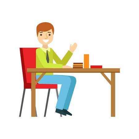Man Alone At The Table Eating Cake, Smiling Person Having A Dessert In Sweet Pastry Cafe Vector Illustration. Happy Primitive Cartoon Character At Bakery Shop At Lunchtime. Illustration