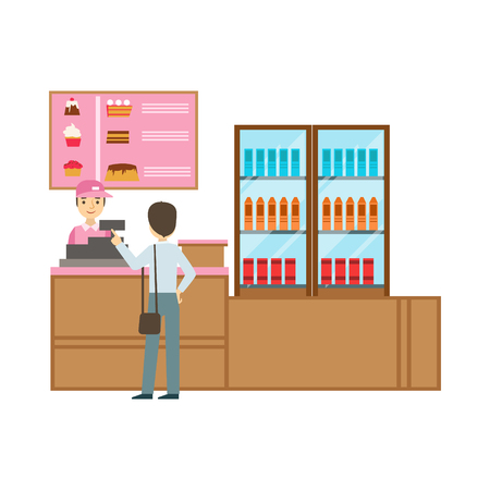 fast money: Man Ordering From Cashier In Pink Uniform, Smiling Person Having A Dessert In Sweet Pastry Cafe Vector Illustration. Happy Primitive Cartoon Character At Bakery Shop At Lunchtime. Illustration