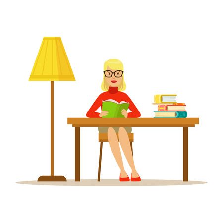 bookworm: Woman Reading Book At The Desk With The Lamp, Smiling Person In The Library Vector Illustration. Simple Cartoon Drawing With Bookworm People Loving To Read And Study In The Library.