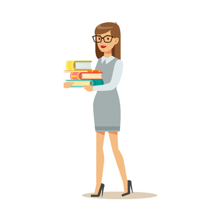 Woman In Glasses Carrying Pile OF Books, Smiling Person In The Library Vector Illustration. Simple Cartoon Drawing With Bookworm People Loving To Read And Study In The Library.