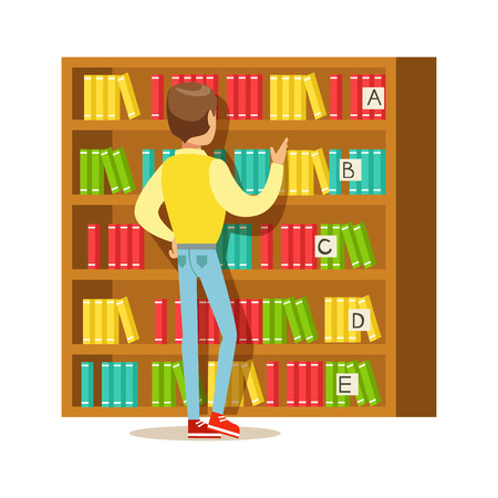 choosing: Man Choosing A Book From The Bookshelf, Smiling Person In The Library Vector Illustration. Simple Cartoon Drawing With Bookworm People Loving To Read And Study In The Library. Illustration
