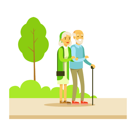 old couple walking: Old Couple Walking Holding Hands, Part Of People In The Park Activities Series. Smiling Characters Outdoors Pastime Bright Illustration With Green Scenery On Background.