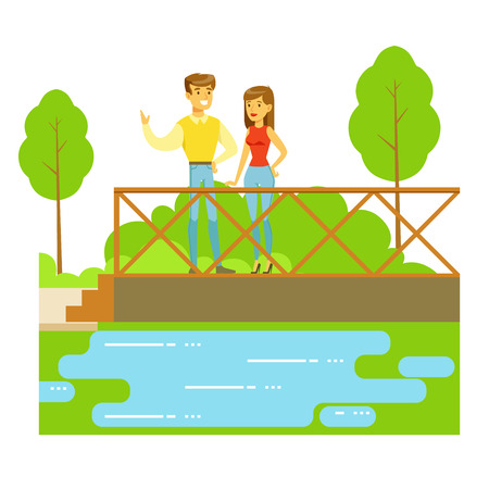 Young Couple Standing On The Bridge Watching The River, Part Of People In The Park Activities Series. Smiling Characters Outdoors Pastime Bright Illustration With Green Scenery On Background.