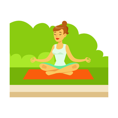 Woman Doing Yoga Exercises And Medtating In Lotus Pose On Grass, Part Of People In The Park Activities Series. Smiling Characters Outdoors Pastime Bright Illustration With Green Scenery On Background.
