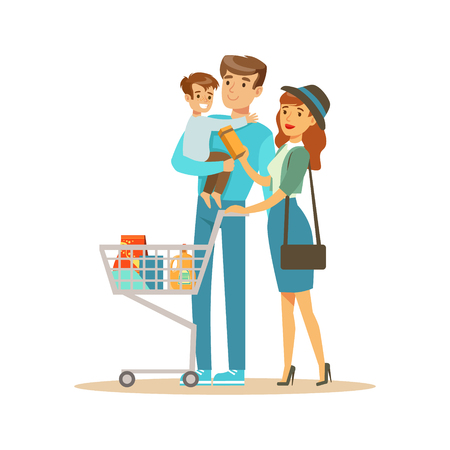weekly: White Family With Cart Shopping In Department Store ,Cartoon Character Buying Things In The Shop. Colorful Vector Illustration With Happy People In Supermarket. Illustration