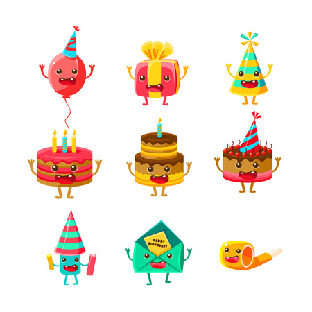 Happy Birthday And Celebration Party Symbols Cartoon Characters Set, Including Birthday Cake, Party Hat, Balloon, Party Horn And Fireworks