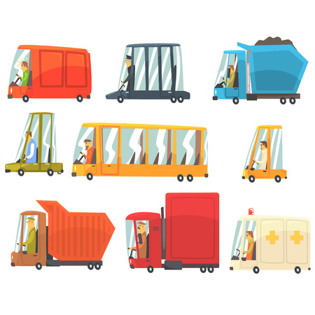Public And Personal Transport Toy Cars And Trucks Set Of Childish Colorful Transportation Vehicles