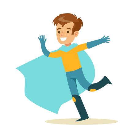 Jongen die pretendeert om Super Powers gekleed in Superhero-Kostuum met Blauw Kaap Lopend Glimlachend Karakter te hebben