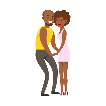 night club series: Romantic Couple Dancing Slowly On Danceloor, Part Of People At The Night Club Series Of Vector Illustrations. Cartoon Character On The Night Out In Dark Music Club Having Good Time.