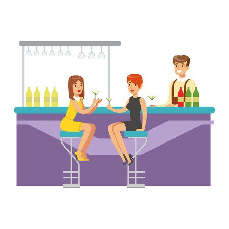 night club series: Two Girlfriends Drinking Cocktails At The Bar, Part Of People At The Night Club Series Of Vector Illustrations. Cartoon Character On The Night Out In Dark Music Club Having Good Time.