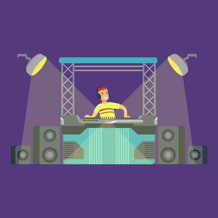 DJ And His Mixer Equipment And Light Show, Part Of People At The Night Club Series Of Vector Illustrations Illustration