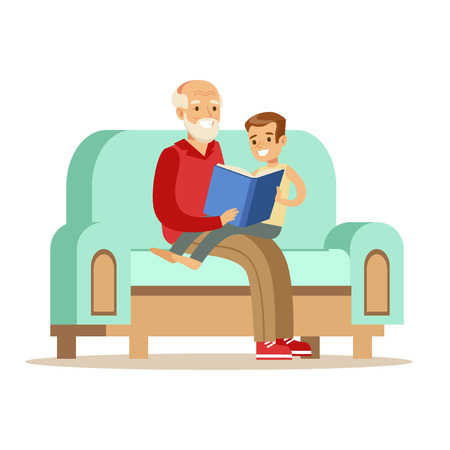 Grandfather And Boy Reading A Book, Part Of Grandparents Having Fun With Grandchildren Series. Different Generations Of Family Enjoying Time Together Vector Cartoon Illustration. Illustration