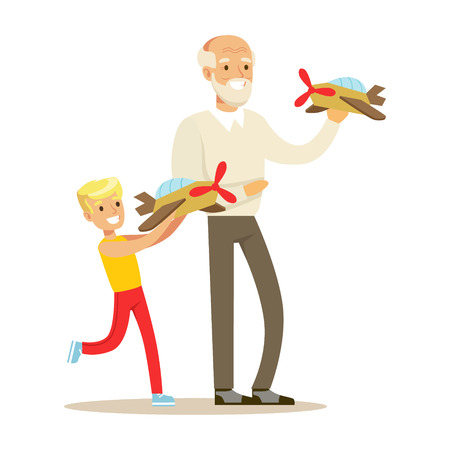 Grandfather And Boy Playing Toy Planes, Part Of Grandparents Having Fun With Grandchildren Series. Different Generations Of Family Enjoying Time Together Vector Cartoon Illustration. Illustration