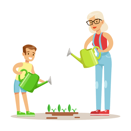 Grandmother And Boy Watering Plants, Part Of Grandparents Having Fun With Grandchildren Series. Different Generations Of Family Enjoying Time Together Vector Cartoon Illustration.