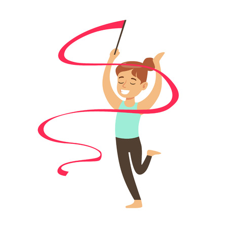 Little Girl Doing Rhythmic Gymnastics Exercise With Ribbon In Class, Future Sports Professional. Small Happy Kid And Adorable Stage Performance Vector Illustration.