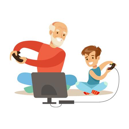 Abuelo Y Niño Jugando Video Juegos, Parte De Abuelos Divertido Con Nietos Serie Foto de archivo - 71552228