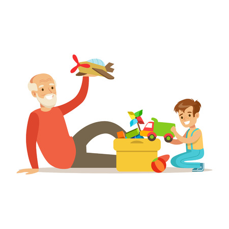 Grandfather Playing Toys With Boy, Part Of Grandparents Having Fun With Grandchildren Series. Different Generations Of Family Enjoying Time Together Vector Cartoon Illustration.