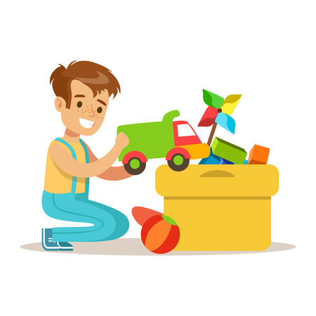 Little Boy And Many Toys In A Box, Part Of Grandparents Having Fun With Grandchildren Series. Different Generations Of Family Enjoying Time Together Vector Cartoon Illustration.