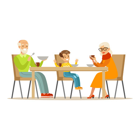 Grandfather, Grandmother And Boy Having Dinner, Part Of Grandparents Having Fun With Grandchildren Series. Different Generations Of Family Enjoying Time Together Vector Cartoon Illustration. Illustration